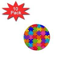 Funny Colorful Puzzle Pieces 1  Mini Buttons (10 pack)