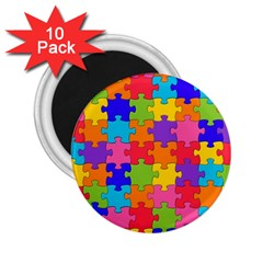 Funny Colorful Puzzle Pieces 2.25  Magnets (10 pack)