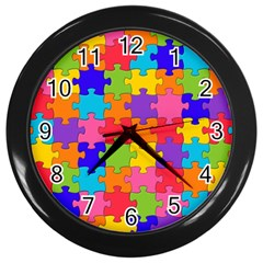 Funny Colorful Puzzle Pieces Wall Clocks (Black)