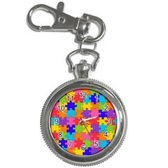 Funny Colorful Puzzle Pieces Key Chain Watches