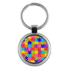 Funny Colorful Puzzle Pieces Key Chains (Round)