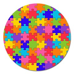 Funny Colorful Puzzle Pieces Magnet 5  (Round)