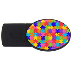 Funny Colorful Puzzle Pieces USB Flash Drive Oval (1 GB)