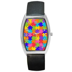 Funny Colorful Puzzle Pieces Barrel Style Metal Watch