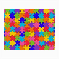 Funny Colorful Puzzle Pieces Small Glasses Cloth