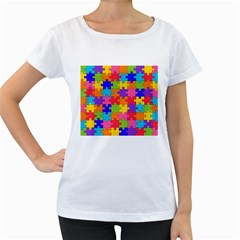 Funny Colorful Puzzle Pieces Women s Loose-Fit T-Shirt (White)