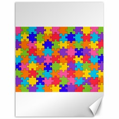 Funny Colorful Puzzle Pieces Canvas 12  x 16