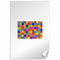 Funny Colorful Puzzle Pieces Canvas 20  x 30