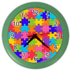 Funny Colorful Puzzle Pieces Color Wall Clocks