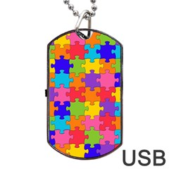 Funny Colorful Puzzle Pieces Dog Tag USB Flash (Two Sides)