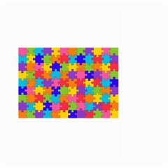 Funny Colorful Puzzle Pieces Large Garden Flag (Two Sides)