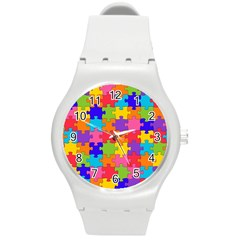 Funny Colorful Puzzle Pieces Round Plastic Sport Watch (M)
