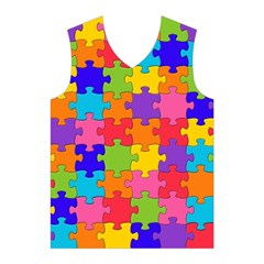 Funny Colorful Puzzle Pieces Men s Basketball Tank Top