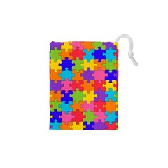 Funny Colorful Puzzle Pieces Drawstring Pouches (XS)