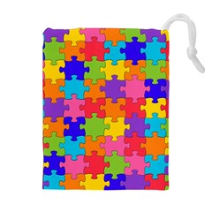 Funny Colorful Puzzle Pieces Drawstring Pouches (Extra Large)