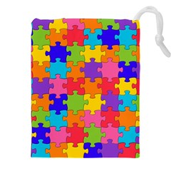 Funny Colorful Puzzle Pieces Drawstring Pouches (XXL)