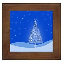 Blue White Christmas Tree Framed Tiles