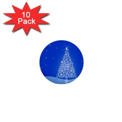 Blue White Christmas Tree 1  Mini Buttons (10 pack)