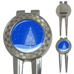 Blue White Christmas Tree 3-in-1 Golf Divots