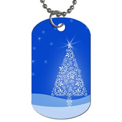 Blue White Christmas Tree Dog Tag (One Side)