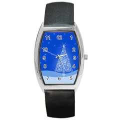 Blue White Christmas Tree Barrel Style Metal Watch
