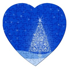 Blue White Christmas Tree Jigsaw Puzzle (Heart)