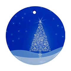 Blue White Christmas Tree Round Ornament (Two Sides)
