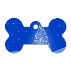 Blue White Christmas Tree Dog Tag Bone (Two Sides)