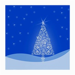 Blue White Christmas Tree Medium Glasses Cloth