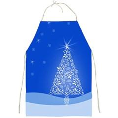 Blue White Christmas Tree Full Print Aprons