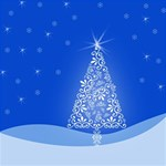 Blue White Christmas Tree #1 MOM 3D Greeting Cards (8x4)  Inside