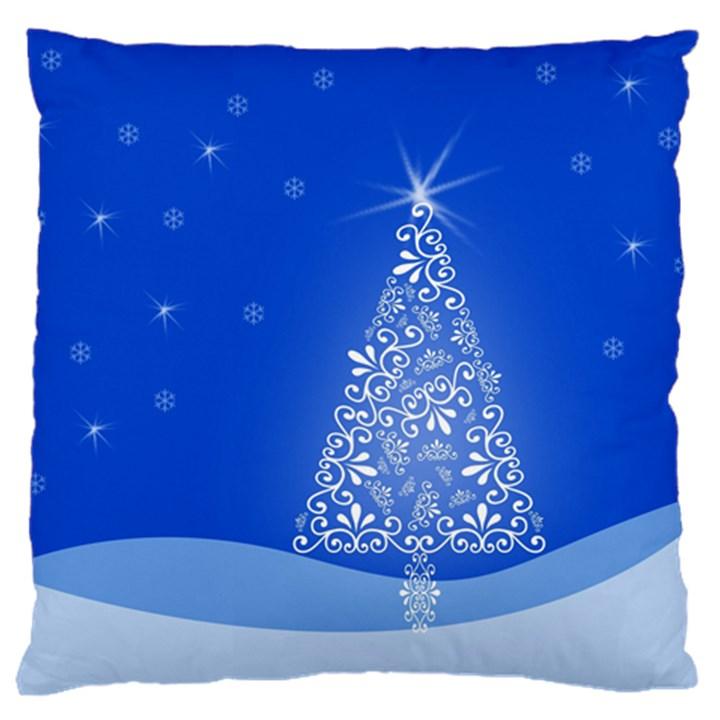 Blue White Christmas Tree Large Cushion Case (One Side)