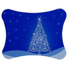 Blue White Christmas Tree Jigsaw Puzzle Photo Stand (Bow)