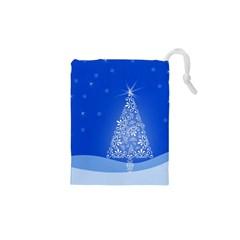 Blue White Christmas Tree Drawstring Pouches (XS)