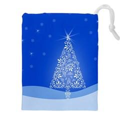 Blue White Christmas Tree Drawstring Pouches (XXL)