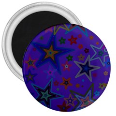 Purple Christmas Party Stars 3  Magnets