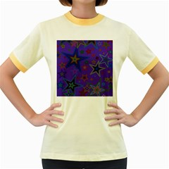 Purple Christmas Party Stars Women s Fitted Ringer T-Shirts