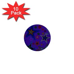 Purple Christmas Party Stars 1  Mini Buttons (10 pack)