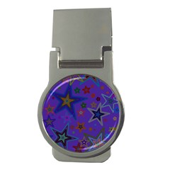 Purple Christmas Party Stars Money Clips (Round)