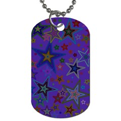 Purple Christmas Party Stars Dog Tag (One Side)