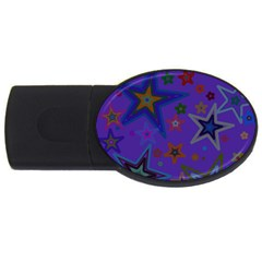 Purple Christmas Party Stars USB Flash Drive Oval (1 GB)