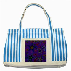 Purple Christmas Party Stars Striped Blue Tote Bag