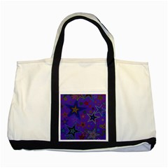 Purple Christmas Party Stars Two Tone Tote Bag