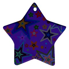 Purple Christmas Party Stars Star Ornament (Two Sides)