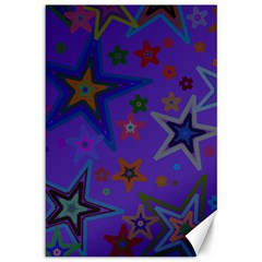 Purple Christmas Party Stars Canvas 12  x 18