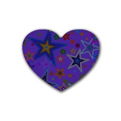 Purple Christmas Party Stars Rubber Coaster (Heart)