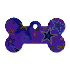 Purple Christmas Party Stars Dog Tag Bone (One Side)