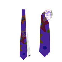 Purple Christmas Party Stars Neckties (Two Side)