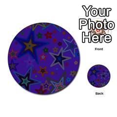 Purple Christmas Party Stars Multi-purpose Cards (Round)