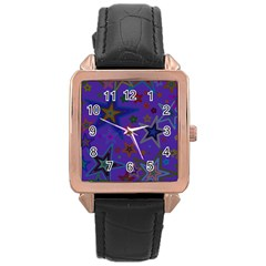Purple Christmas Party Stars Rose Gold Leather Watch